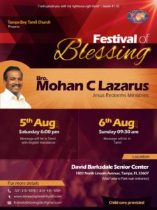 Festival Of Blessing - Tampa Bay Tamil Church